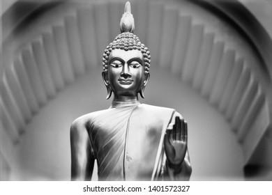 buddha statue in black and white