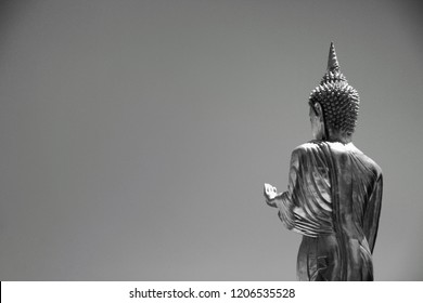 Buddha statue with black white color