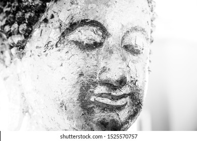 Buddha statue, black and white image
