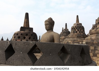 Buddha statue at Borobudur Temple, Central Java Indonesia