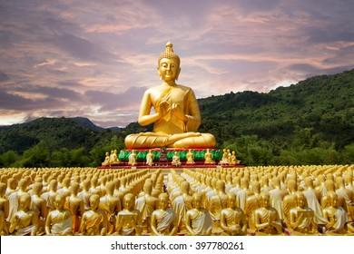 buddha statue in buddhism temple thailand