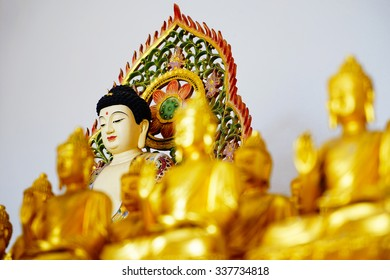Buddha statue in chinese temple in Hat Yai Songkhla Thailand,Selective focus close up shallow depth of field.
