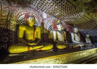 Buddha statue in Dambulla Cave Temple (Golden Temple of Dambulla), Sri Lanka