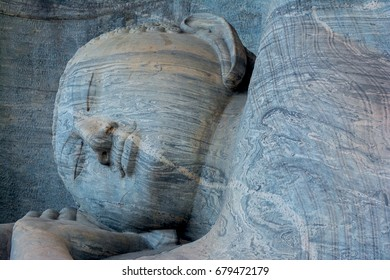 Buddha statue at Gal vihara temple in Polonnaruwa. The temple has four rock relief statues of the Buddha carved of a large rock