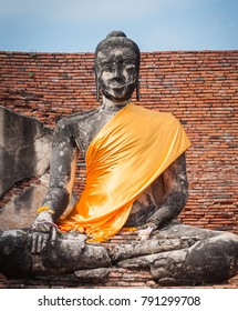 Buddha statue with golden cloth