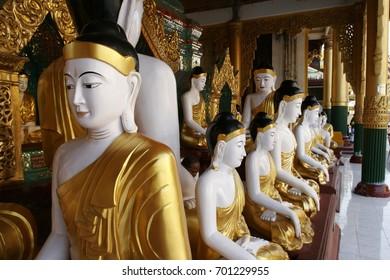 Buddha Statue in Great Golden Pagoda, Yangon, Landmark of Burma, the most sacred Buddhist pagoda in Myanmar