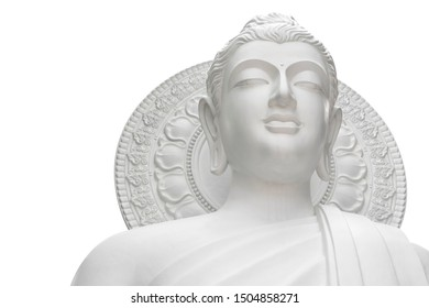 Buddha statue isolated on white background. Bueatiful white buddha statue with clipping path. White buddha made of cement.