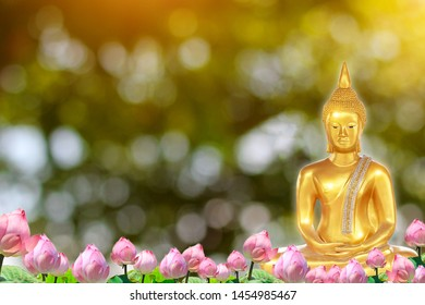 Buddha statue and Lotus flower background. Buddhism texture.