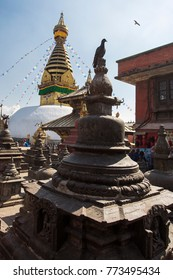 Buddha statue in a middle of a temple in Kathmandu, Nepal