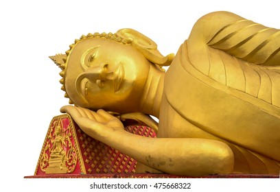 Buddha statue more than 100 years old of Thai temple;Reclining Buddha on white,Reclining (sleeping) golden Buddha statue at temple in Thaialnd , isolated on a white background of the old Thai temple