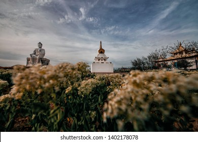 Buddha statue and mortar in the east of Kalmykia