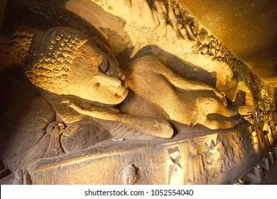 Buddha statue on background sleeped