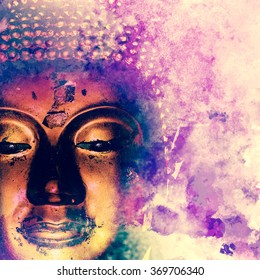 Buddha statue on grunge background.