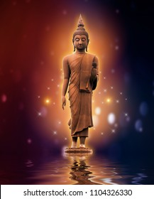 Buddha statue on water gold background purple color blue