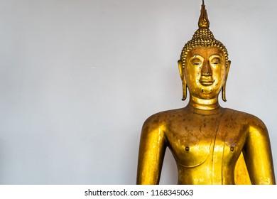 Buddha Statue on white background. Seated Buddha image.