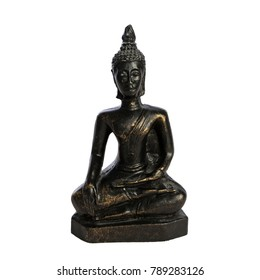 Buddha statue on white background. Calm, peaceful photo of human figure in meditation. Joyful and happy. No stress and relaxed mind.