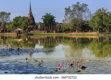 Buddha statue and pagoda in Shukhothai Historical Park, Thailand