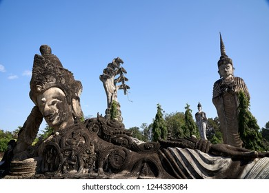 Buddha statue in Sala Kaeo Ku or Wat Khaek the famous place to travel in Nong Khai Province, Thailand
