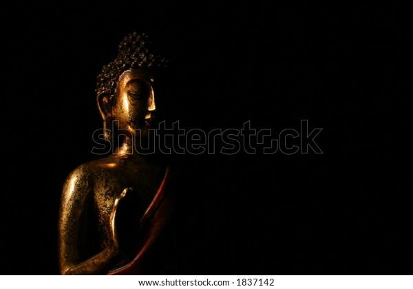 Buddha statue silhouette (Macro shot with black background)