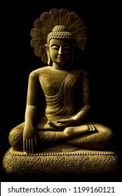 Buddha statue sitting meditation. Carved from sandstone