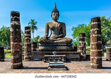 Buddha statue sitting in the Sukhotai Historical Park, Thailand