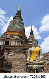 Buddha statue and stupa at Wat Yai Chai Mongkhon in Ayutthaya, Thailand