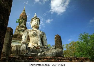 Buddha Statue at Sukhothai historical park in Thailand., Tourism, World Heritage Site, Civilization,UNESCO.