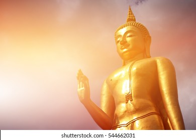 buddha statue with sun bright, power of buddha background concept.