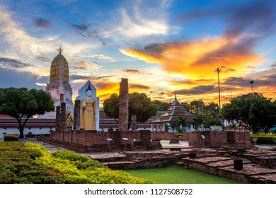 Buddha statue at sunset are Buddhist temple and major tourist attractions at Wat Phra Si Rattana Mahathat also colloquially referred to as Wat Yai is a Buddhist temple (wat) in Phitsanulok,Thailand.