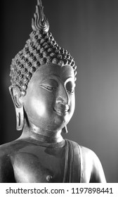 Buddha statue from Thailand. black and white picture.