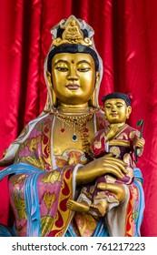 Buddha statue in Vihara Watugong  Chinese Buddhist temple in Semarang, Central Java, Indonesia