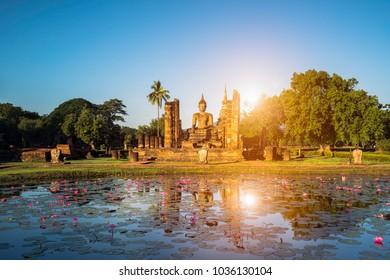 Buddha Statue at Wat Mahathat in Sukhothai Historical Park. UNESCO World Heritage