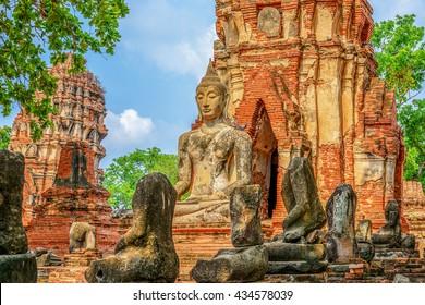 Buddha statue in Wat Mahathat temple, Ayutthaya, Thailand.