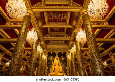 Buddha statue in Wat Phra Sri Rattana Mahathat Temple, Amphoe Mueang Phitsanulok, Phitsanulok, Thailand