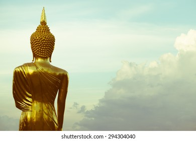 Buddha Statue at Wat Phra That Khao Noi in Nan province, northern of Thailand, retro color style