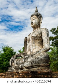 Buddha Statue at Wat Traphang Ngoen ,an ancient temple in Sukhothai Historical Park, Thailand.
