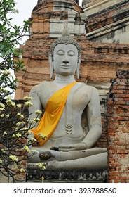 Buddha statue Wat Yai Chaimongkol Ayutthaya, Thailand.(Temples in Thailand.)