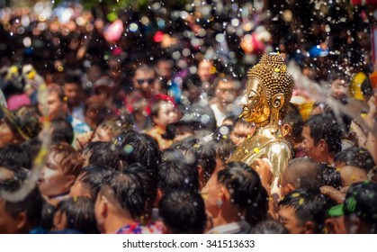 Buddha statue water ceremony in songkran festival