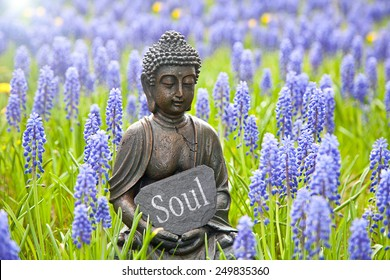 Buddha statue with the word  Soul