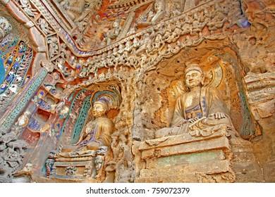 Buddha statue : Yungang grottoe , China. Selective focus