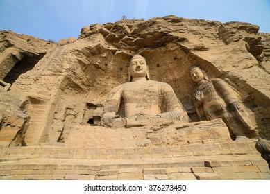 Buddha statue at Yungang Grottoes in Datong, China