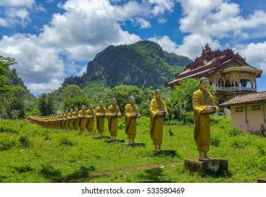 Buddha statues in Burma temple with beautiful landscape