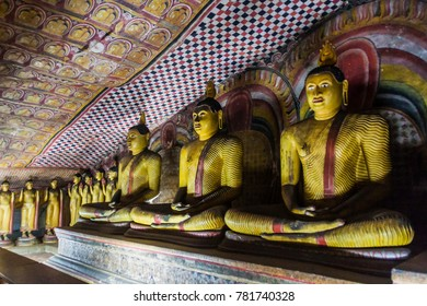 Buddha statues in a cave of Dambulla cave temple, Sri Lanka