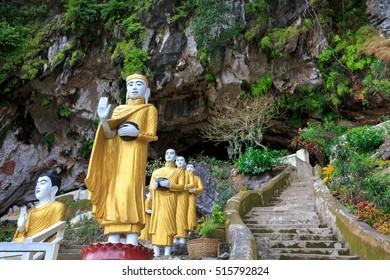 Buddha Statues at the entrance to Yathaypyan Cave, Hpa An , Myanamar