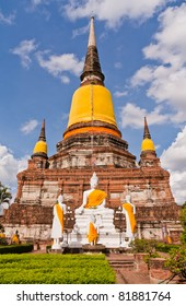Buddha statues in front of ruin pagodas in park in Ayutthaya Thailand