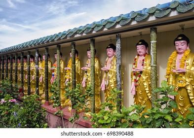 Buddha statues in Kek Lok Si temple, Penang, Malaysia