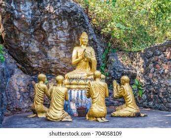 Buddha statues in Mount Phou Si, Luang Prabang, Laos