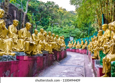 Buddha statues on the way to the Ten Thousand Buddhas Monastery in Hong Kong, China