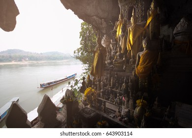 Buddha statues of Pak Ou caves in Luang Prabang, Laos