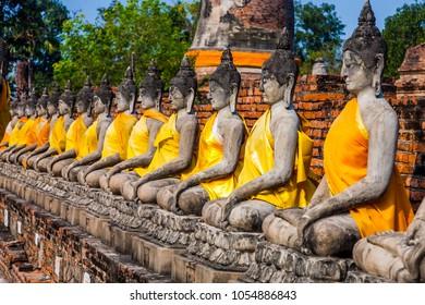 Buddha statues at the temple of Wat Yai Chai Mongkon in Ayutthaya near Bangkok, Thailand